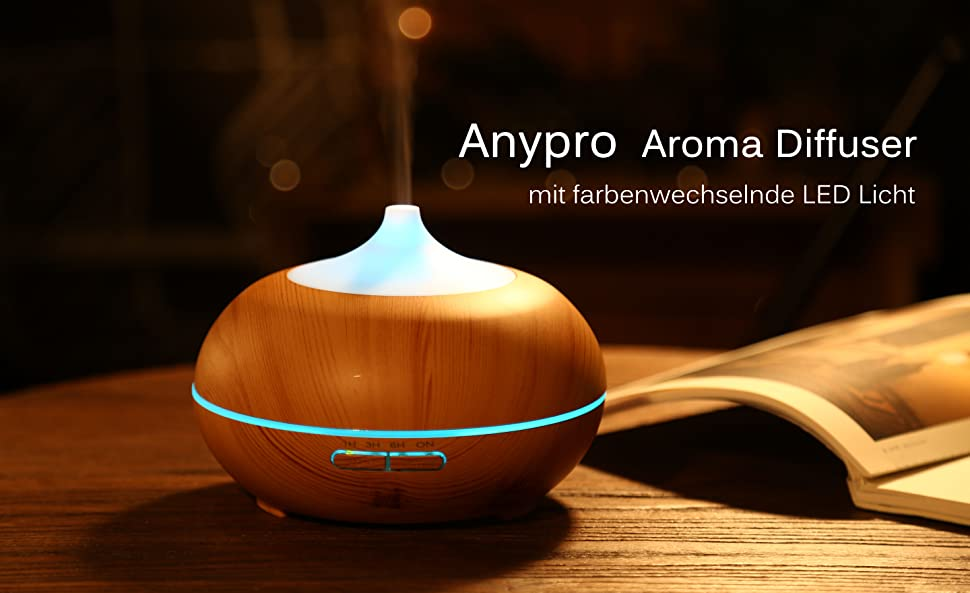 aroma diffuser anypro 300ml ultraschall luftbefeuchter holzmaserung mit 7 farben led licht. Black Bedroom Furniture Sets. Home Design Ideas