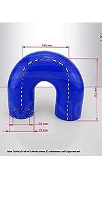 Wulstverbinder /Ø 80 mm Blau Silikonschlauch flexibel K/ühlwasserschlauch Turbo Ladeluftschlauch