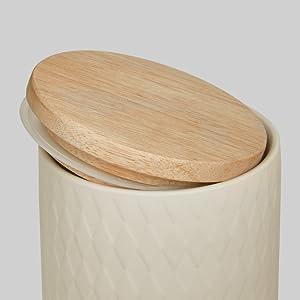: Keramik Vorratsdosen mit Holzdeckel Mint