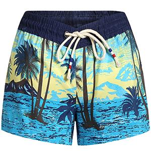 SSLR Damen Badeshorts Boardshorts UV Schutz Schwimmshorts Strandshorts Wassersport Schwimmen Palmen Hawaii Stil