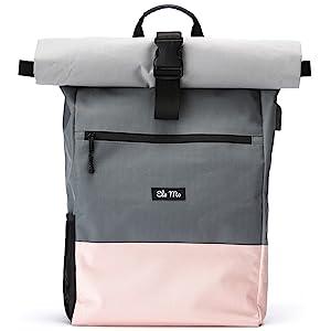 Ela Mo's Rucksack Damen | Schön und Durchdacht | für Uni Reisen Freizeit Job | mit Laptopfach & Anti Diebstahl Tasche | Schwarz