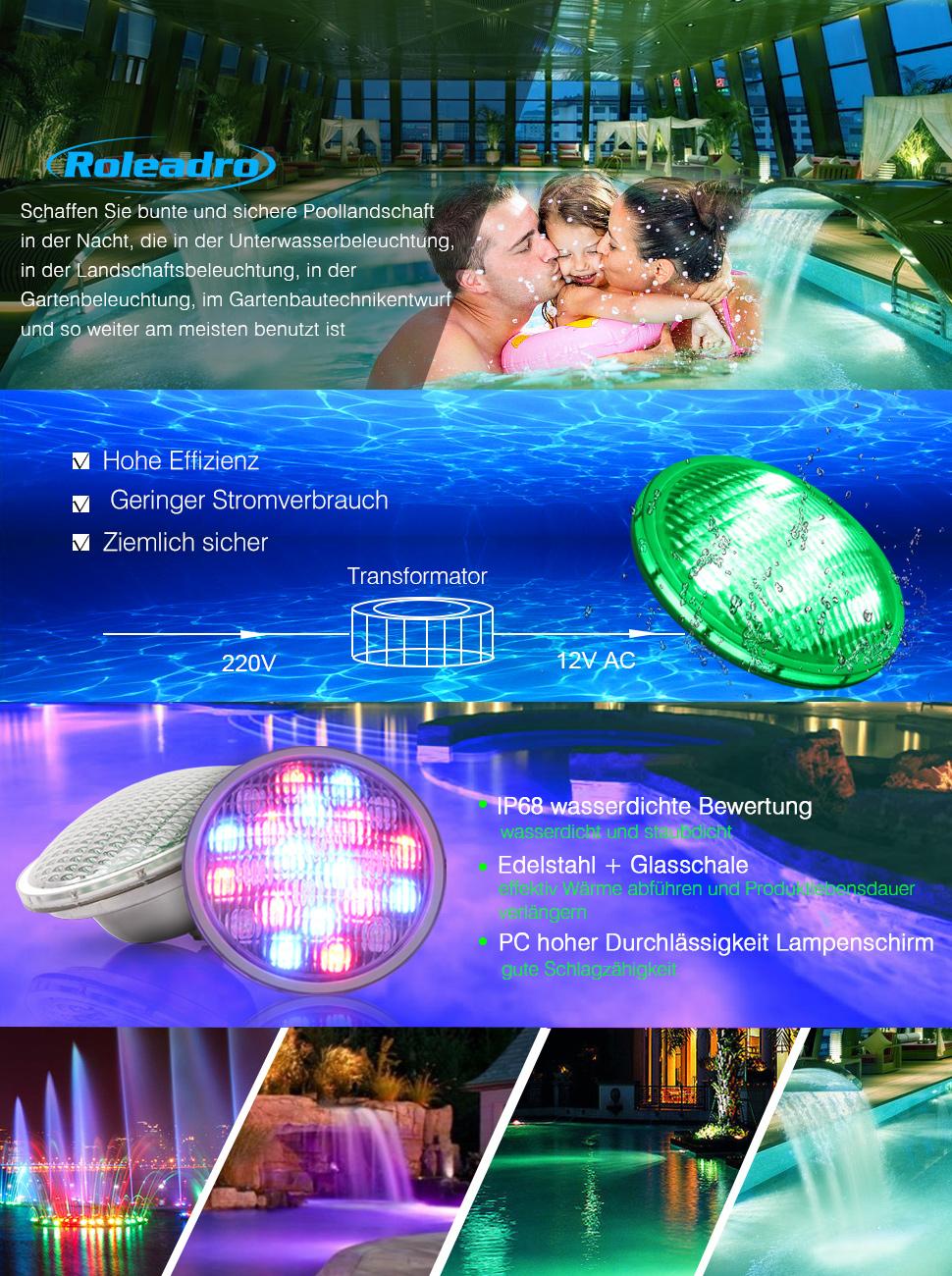 DEL 70 W Power RGB piscine par56 pour poolscheinwerfer piscine
