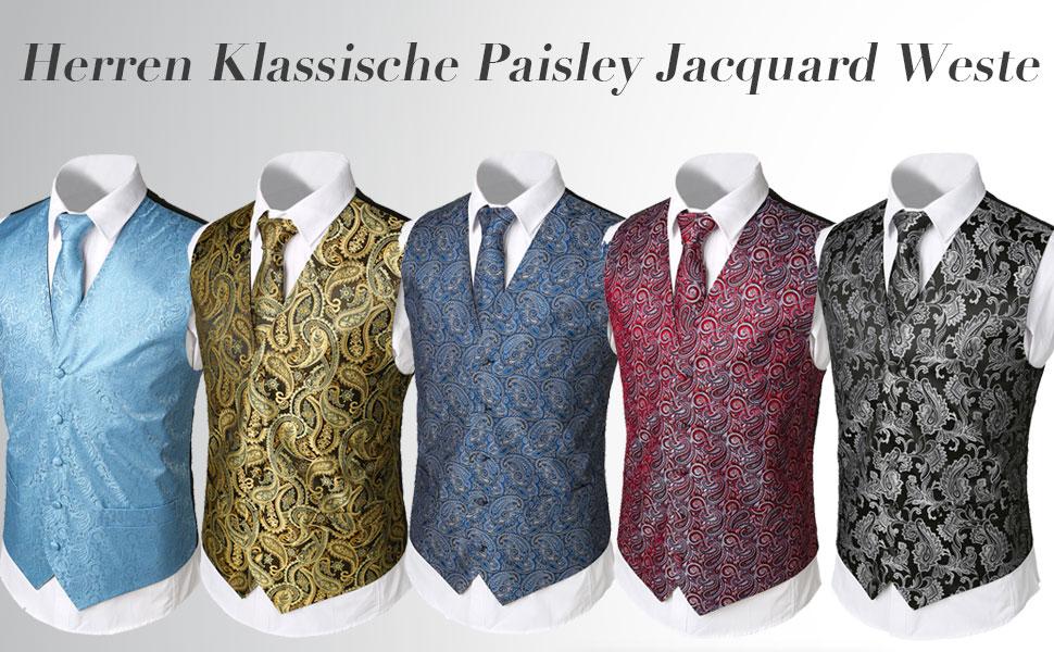 Weste quadratisch Einstecktuch 4 St/ück Hi-Tie Herren-Manschettenkn/öpfe Krawatte