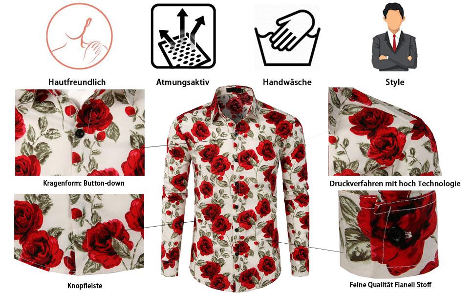 Herren Hemd Langarm Shirt Freizeit Blumenhemd Party Regular