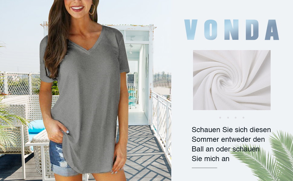 Vonda Damen Bluse Oberteile T Shirt Sommer Kurzarm V Tops Sexy Casual Ausschnitt iukXZP