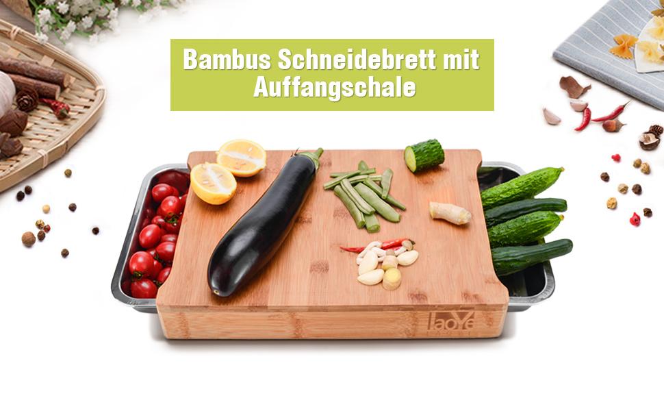 Tiroirs de Cuisine en Acier Inoxydable Planche Anti Bact/érienne 100/% Bio LAOYE Planche a Decouper en Bois-Bambou avec 2 pcs Plateau R/écup/érateur 41 x 28 x 6cm