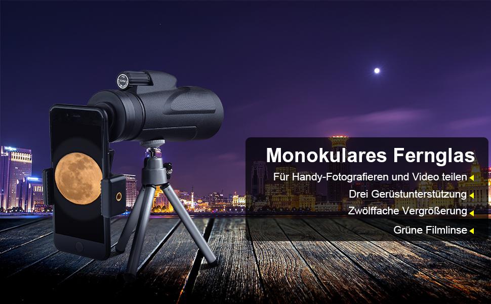 12x50 monokular fernglas mit handy halterung und stativ: amazon.de