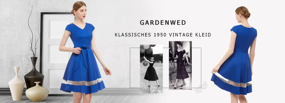 Gardenwed Damen Vintage 1950er Retro Rockabilly Cocktail Party Kleid  V-Ausschnitt Kleid Faltenrock Abendkleid
