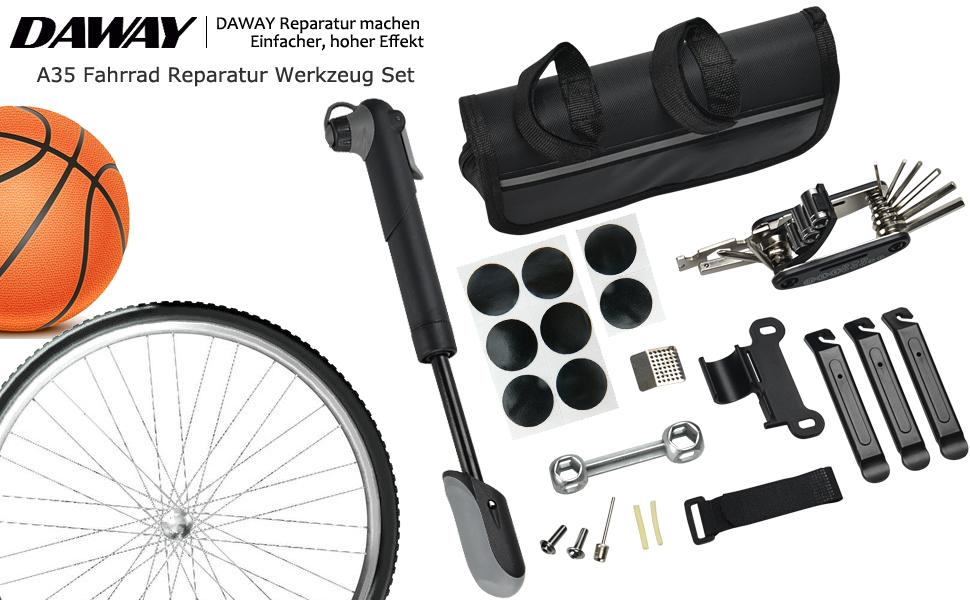 DAWAY Fahrrad Reparatur Werkzeug Set A35 Fahrrad Werkzeugtasche mit ...