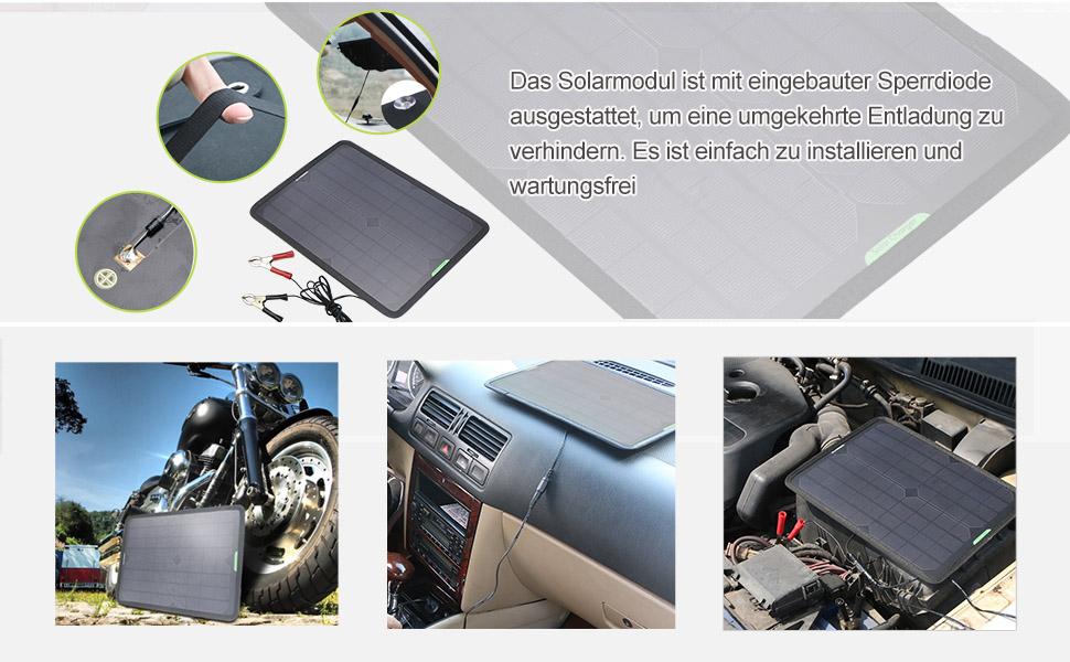 Krokodilklemme f/ür Automobil-Motorrad-Traktor Boot RV ALLPOWERS 18V 12V 10W Portable Solar Panel Ladeger/ät Maintainer Bundle mit Zigarettenanz/ünder-Stecker