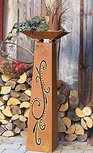 edelrost s ule mit schale rostige blumens ule 115 cm mit ornamenten flori garten. Black Bedroom Furniture Sets. Home Design Ideas