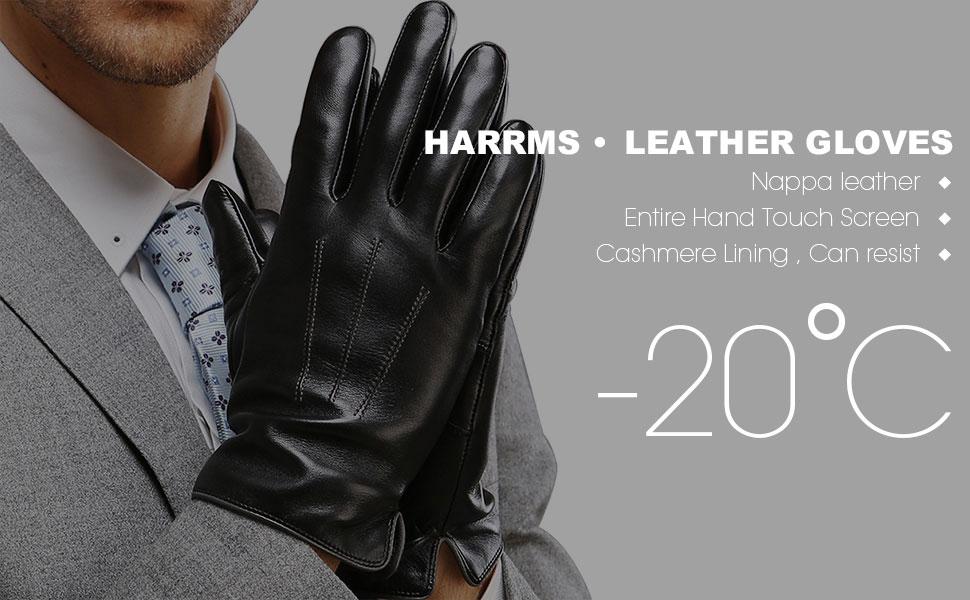 7f9d085d93e8a4 HARRMS Herren Winter Warme Handschuhe Fäustlinge aus Leder Touch ...