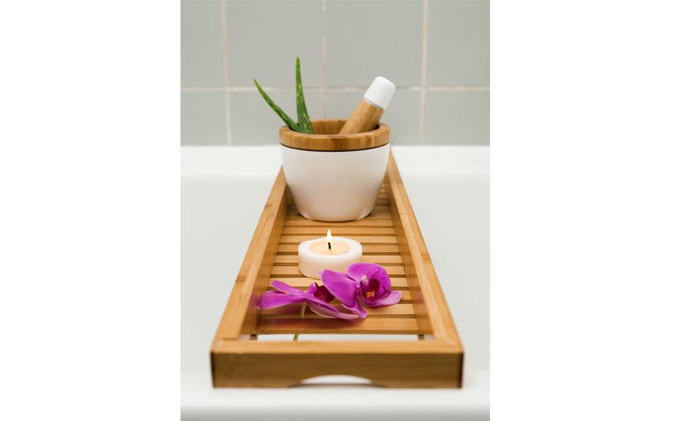 wei/ß Badewannenregal Badewannenablage Badewannenaufsatz Badewannentablett zur Aufbewahrung von B/üchern//Telefon//Weinglas//Seife 19.5 1.6 Zoll 6.4 FTVOGUE Badewannenbretter 27.6