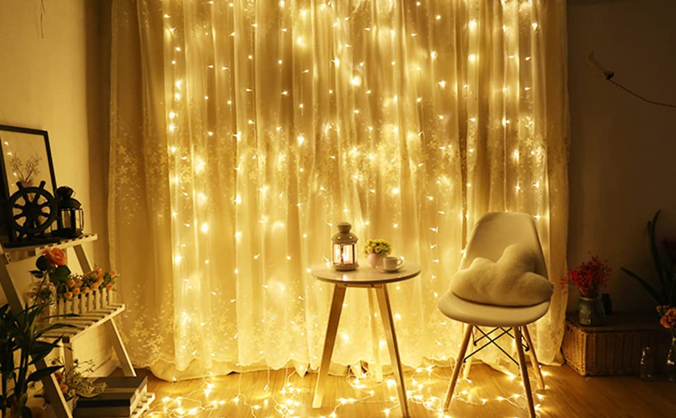 Upgraded OMGAI 300LEDs Vorhang-Licht Mit 8 Modi Für Weihnachten Neujahr Party Hochzeit Home Decoration Fairy Lights Garden Decorations 3m*3m (Upgraded Low Voltage) Warmweiß