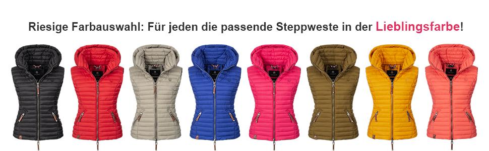 7d5a5d498365cc Navahoo Shadaa Damen ärmellose Steppjacke Weste Steppweste Übergangsjacke  Damen Frühling Mode