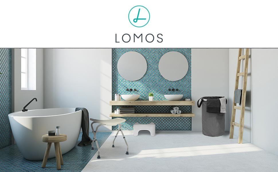 LOMOS formstabiler Trendiger W/äschekorb in grau mit 75L Fassungsverm/ögen