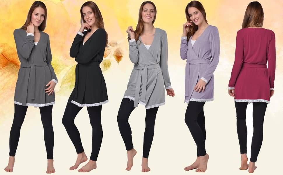 Damen V-Kragen Baumwolle Morgenmantel mit Spitzensaum, amtungsaktiv und weich