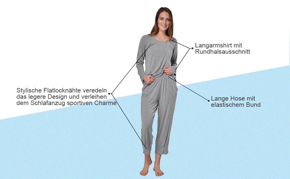 a53d826cfe Dieser weiche Pyjama von bpc selection bezaubert mit einem aparten Design  und hohem Schlafkomfort.
