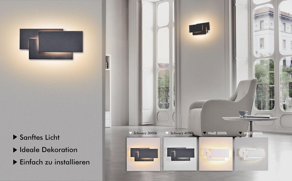 ralbay led wandlampe 12w moderne wandleuchte inne ip20 wandlicht aluminium wandbeleuchtung. Black Bedroom Furniture Sets. Home Design Ideas