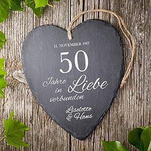 Casa Vivente Großes Schieferherz Mit Gravur Zur Goldenen Hochzeit Personalisiert Mit Namen Und Datum 50 Jahre In Liebe Verbunden Aufhängen