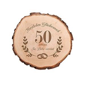 Casa Vivente Baumscheibe Mit Gravur Zur Goldenen Hochzeit 50 Jahre In Liebe Vereint Wand Deko Geschenkidee Für Ehepaare Zum 50 Hochzeitstag