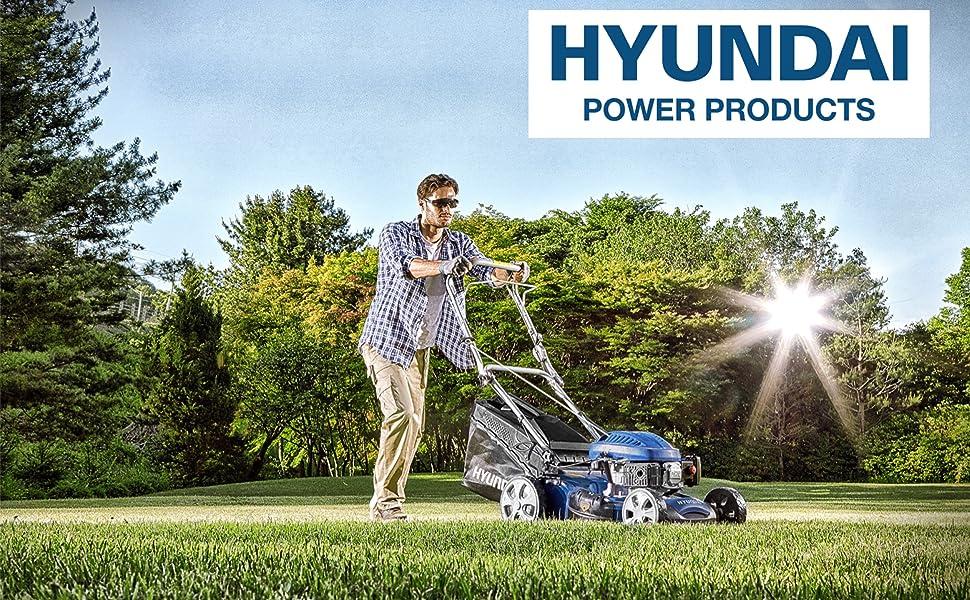 HYUNDAI Benzin-Rasenmäher LM4201G Benzinmäher mit 3.5 PS starkem HYUNDAI Motor