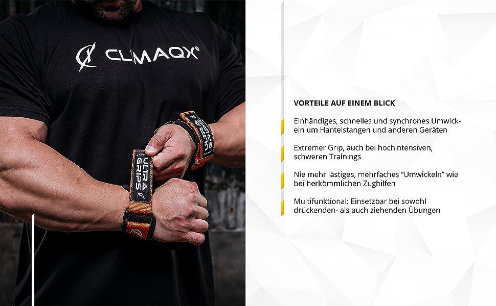 Climaqx Ultra Grips Lifting Straps für Fitness Handgelenkbandage  Schwarz Gr M