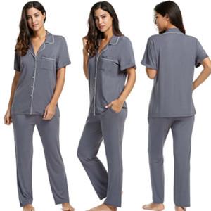 62d64d84a44b87 Pyjama Set Damen Schlafanzug Kurzarm Hose und Oberteil kurz Schwangere  Nachtwäsche schwarz/grau/blau