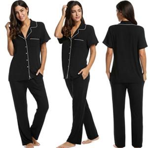 check out 6da2e 1040f Pyjama Set Damen Schlafanzug Kurzarm Hose und Oberteil kurz Schwangere  Nachtwäsche schwarz/grau/blau