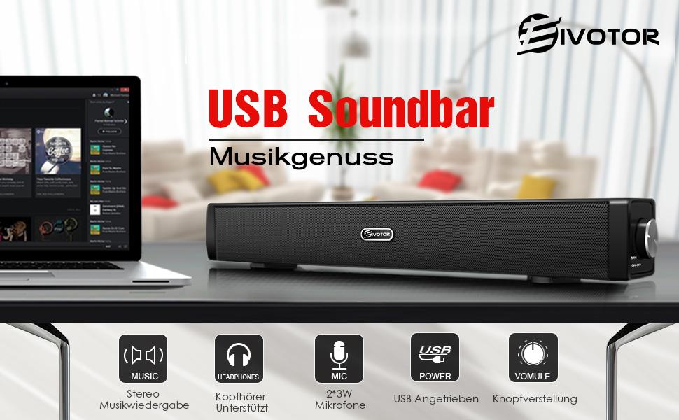 pc lautsprecher usb soundbar player box soundsystem f r fernseher wired speaker ebay. Black Bedroom Furniture Sets. Home Design Ideas
