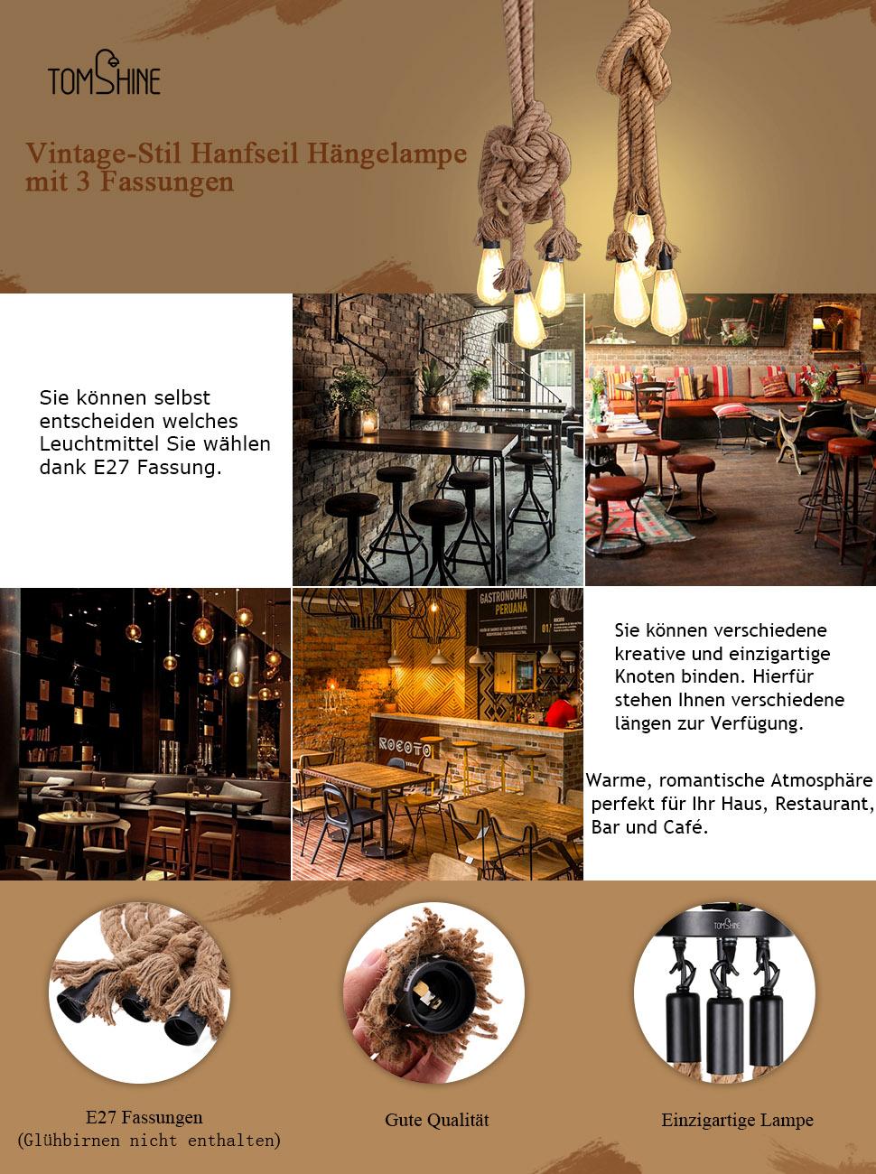 Geräumig Hängelampe Küche Referenz Von Vintage Pendelleuchte Hanfseillampe Hängelampe Tomshine Seilleuchte 0,5m