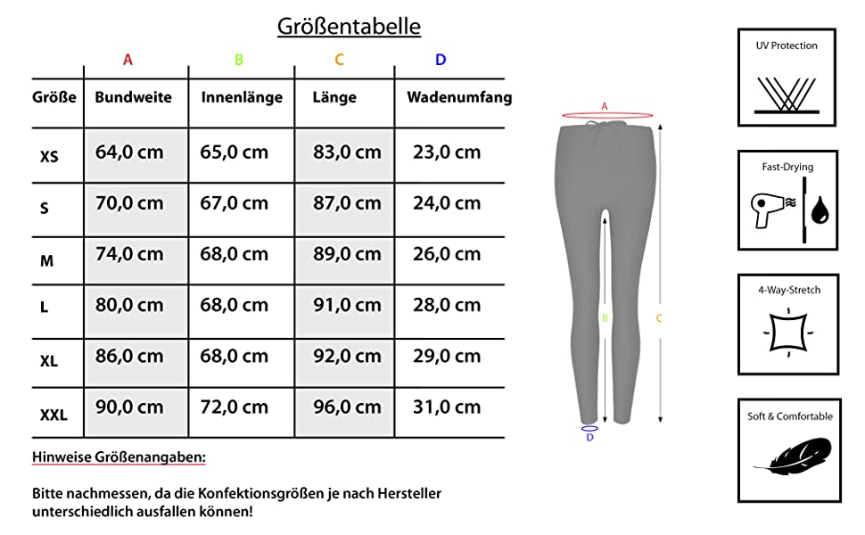 Formbelt, Leggings, Damen, Laufhose, Größentabelle