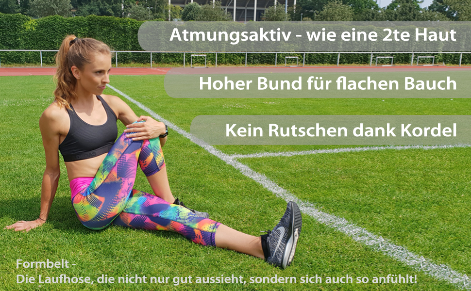 Laufhose Sport-Leggings Tights Caprihose Fitnessleggings Damen 3/4 lange Sporthose Handytasche