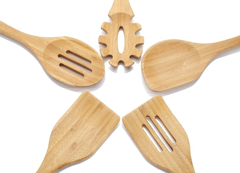 NEXGADGET 5-teiliges Küchenhelfer aus Bambus Küchenutensilien ...
