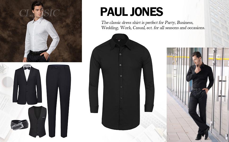 PaulJones Herrenmode Einfarbig Button Down Langarm Hemd