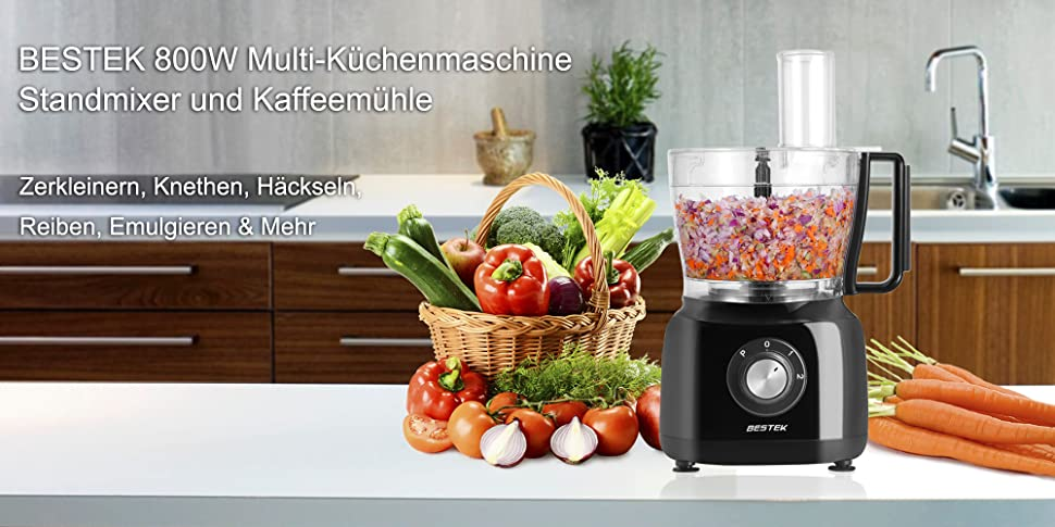 Amazon De Bestek 800w 3 In 1 Design Kuchenmaschine Zerkleinerer