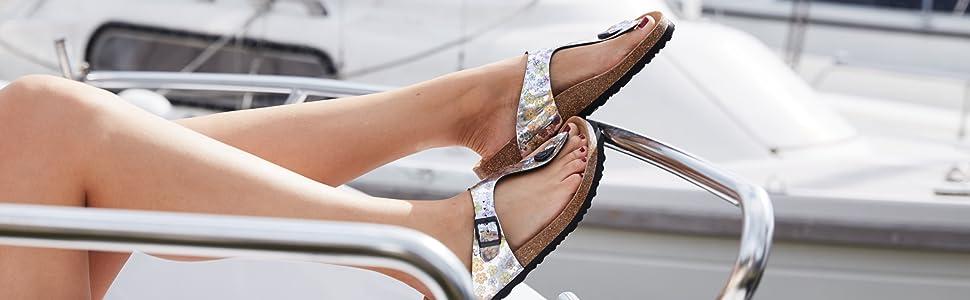 joe n joyce rio kork flip flop zehentrenner sandale mit eva sole und blumen dekor und schnalle