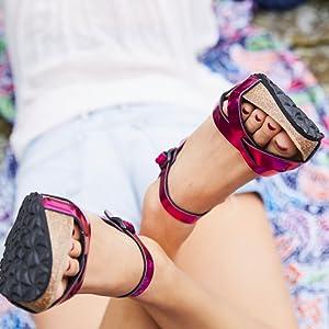wedge sandale aus Kork