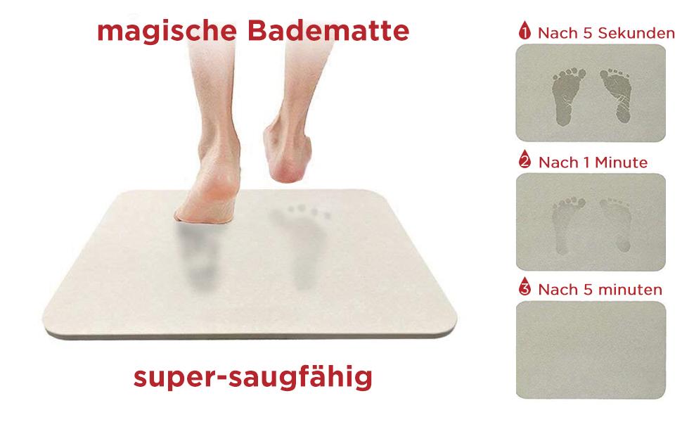 Yoassi Badematte aus Kieselgur Sofort Trockener Diatomit Rutschfester Badvorleger Premium Badteppiche