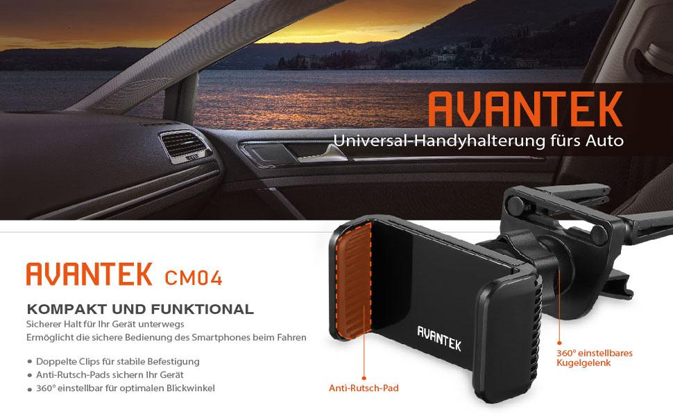 Avantek Auto Handy Halter Kfz Handyhalterung Für Handy Von Bis Zu 8 5 Cm Breite Auto
