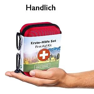 Kleines Kompatkes Erste Hilfe Set, handlich, Karabiner, Rucksackbefestigung, Golab, Erste Hilfe Set