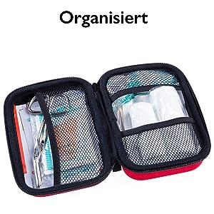 Organisiert, Tasche, Verbandsmaterial, DIN13167, Verbansinhalt, Verbandkasten