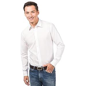 ALLBOW Camisa Blanca para Hombre Formal Regular Fit con Parches en los Codos, 100% algodón