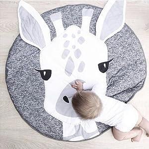 Babydecke aus 100/% Baumwolle Muster Hirsch Rund weich gepolstert Krabbeldecke Gepolstert Kinderteppich Baby Krabbeldecke Kinderteppich