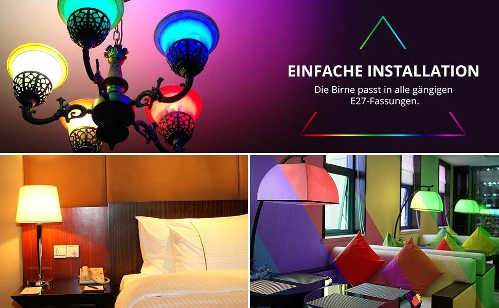 le rgbw e27 led lampen mit fernbedienung farbwechsel 6w. Black Bedroom Furniture Sets. Home Design Ideas