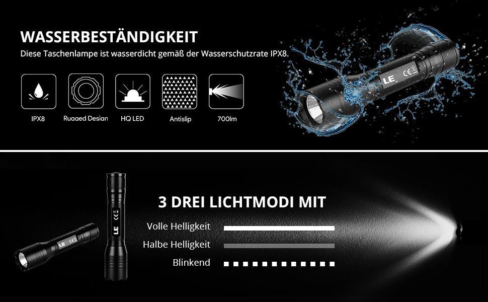 Wiederaufladbare USB Taschenlampe500 LumenZoombarWasserdichtCamping