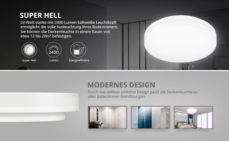 LE 24W Kaltweiß Deckenleuchte, 2400lm LED Deckenlampe, Ideal für Bad ...