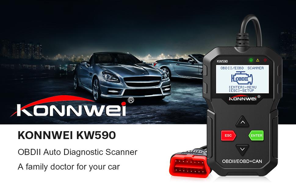 KONNWEI KW590 OBDII Diagnosegerät Scanner Fahrzeug Motor Diagnosis ...