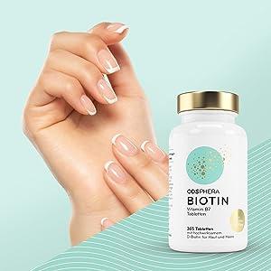Biologische biotine haren, huid, nagels, broze nagels, vitamine B 7 B7 biohine biotine