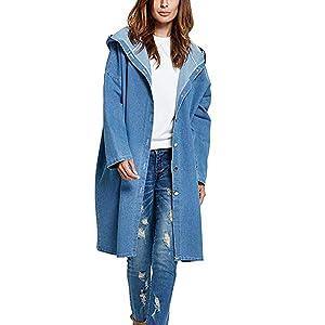 Damen Lange Jeansjacke Langarm Oversized BF Jeans Kapuze Windbreaker ... f318e906fc